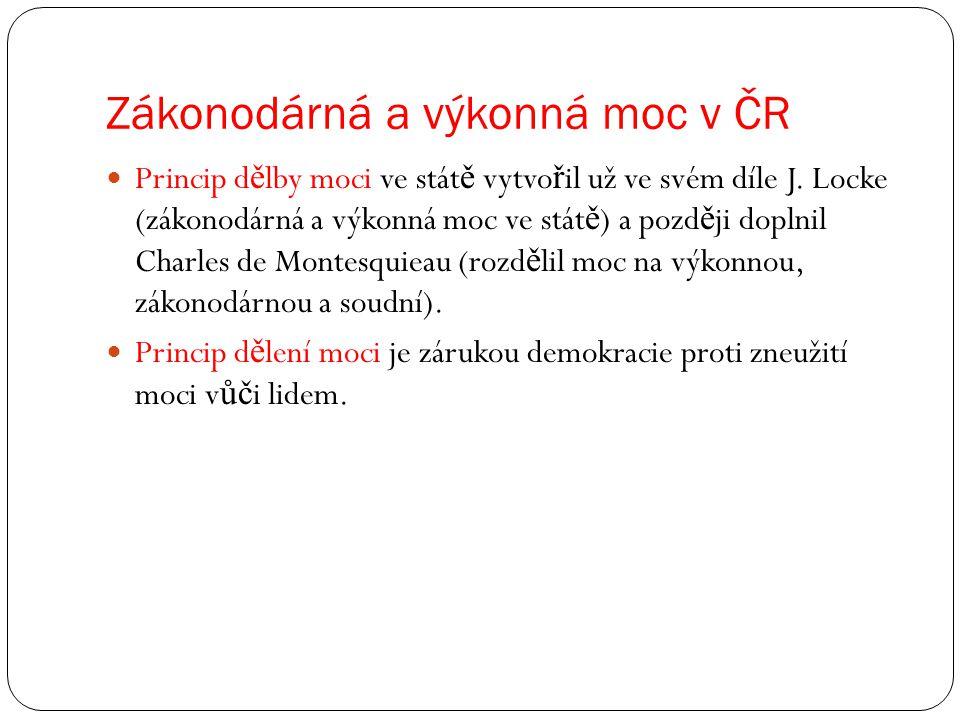 Zákonodárná a výkonná moc v ČR Zákonodárná moc = legislativa Výkonná moc = exekutiva Soudní moc = jurisdikce