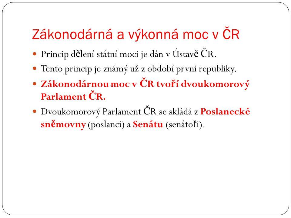 Zákonodárná a výkonná moc v ČR Princip d ě lení státní moci je dán v Ústav ě Č R. Tento princip je známý už z období první republiky. Zákonodárnou moc