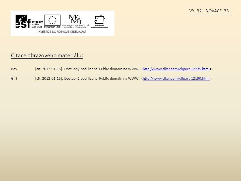 VY_32_INOVACE_33 Citace obrazového materiálu: Boy[cit. 2012-01-15]. Dostupný pod licencí Public domain na WWW:.http://www.clker.com/clipart-12235.html