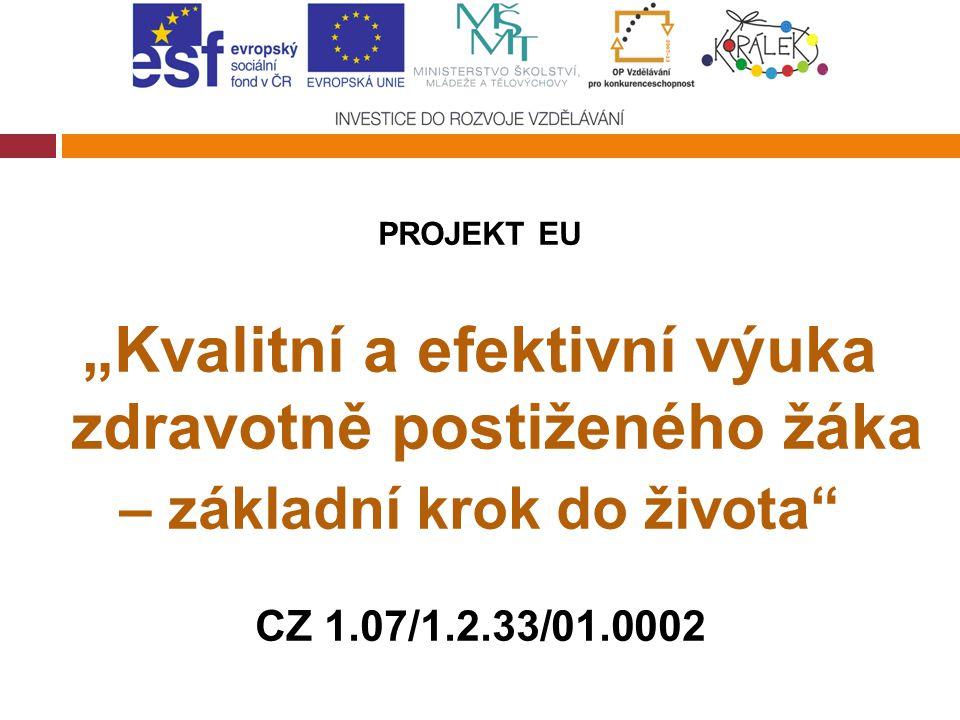 """PROJEKT EU """"Kvalitní a efektivní výuka zdravotně postiženého žáka – základní krok do života"""" CZ 1.07/1.2.33/01.0002"""