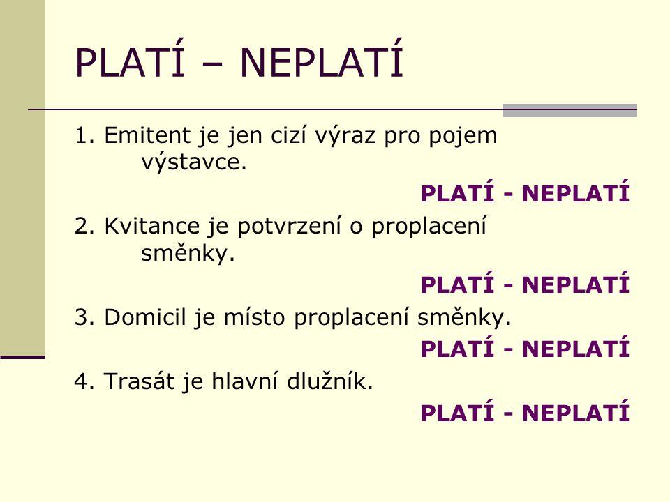 PLATÍ – NEPLATÍ 1. Emitent je jen cizí výraz pro pojem výstavce.