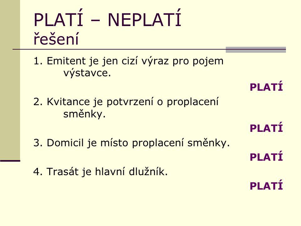 PLATÍ – NEPLATÍ řešení 1. Emitent je jen cizí výraz pro pojem výstavce.