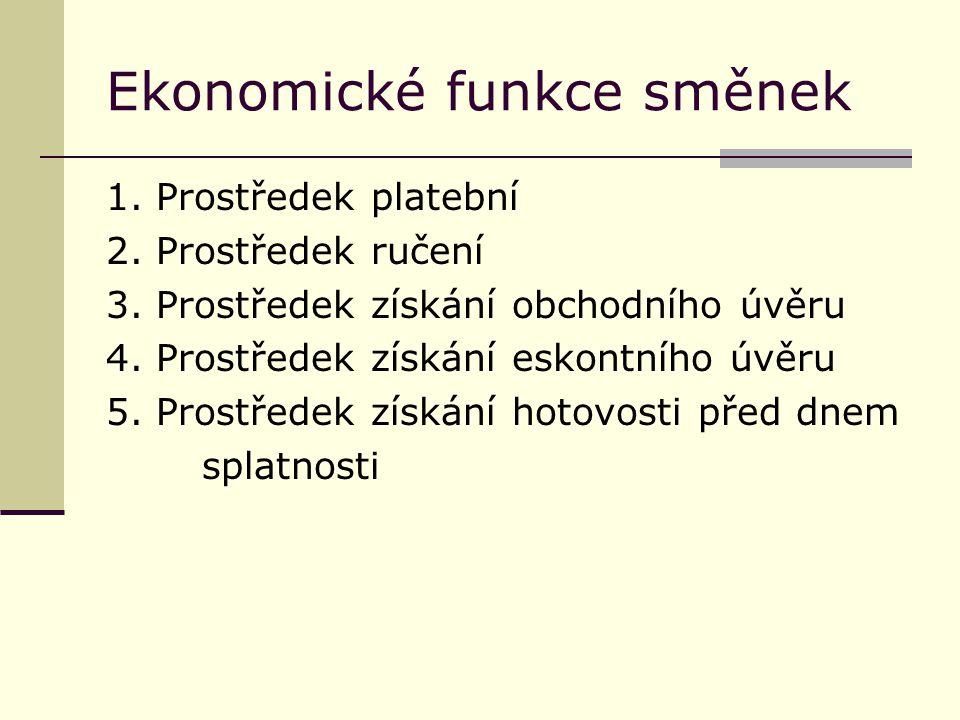 Ekonomické funkce směnek 1. Prostředek platební 2.