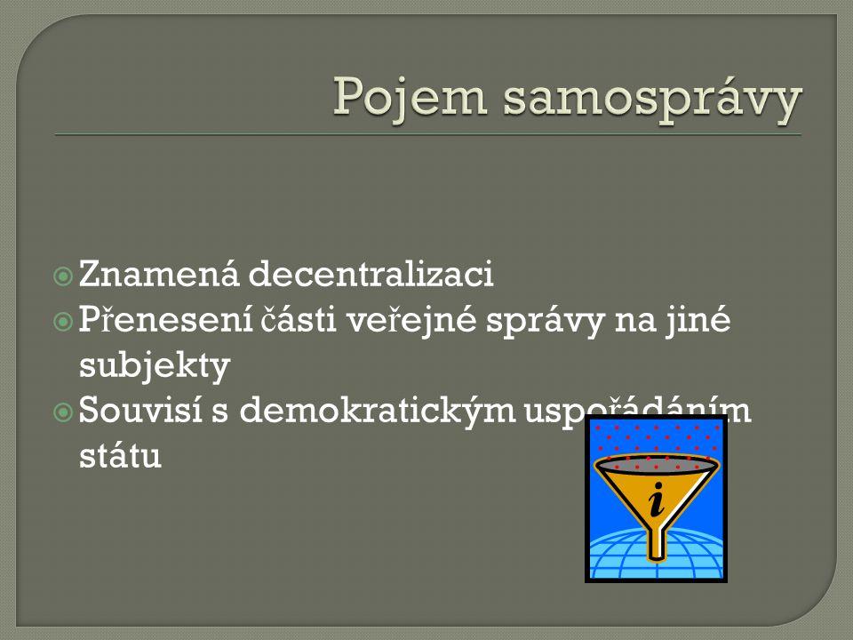  Znamená decentralizaci  P ř enesení č ásti ve ř ejné správy na jiné subjekty  Souvisí s demokratickým uspo ř ádáním státu