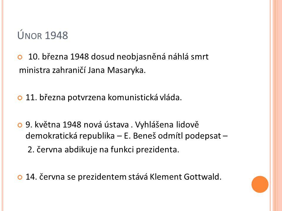 Ú NOR 1948 10. března 1948 dosud neobjasněná náhlá smrt ministra zahraničí Jana Masaryka.