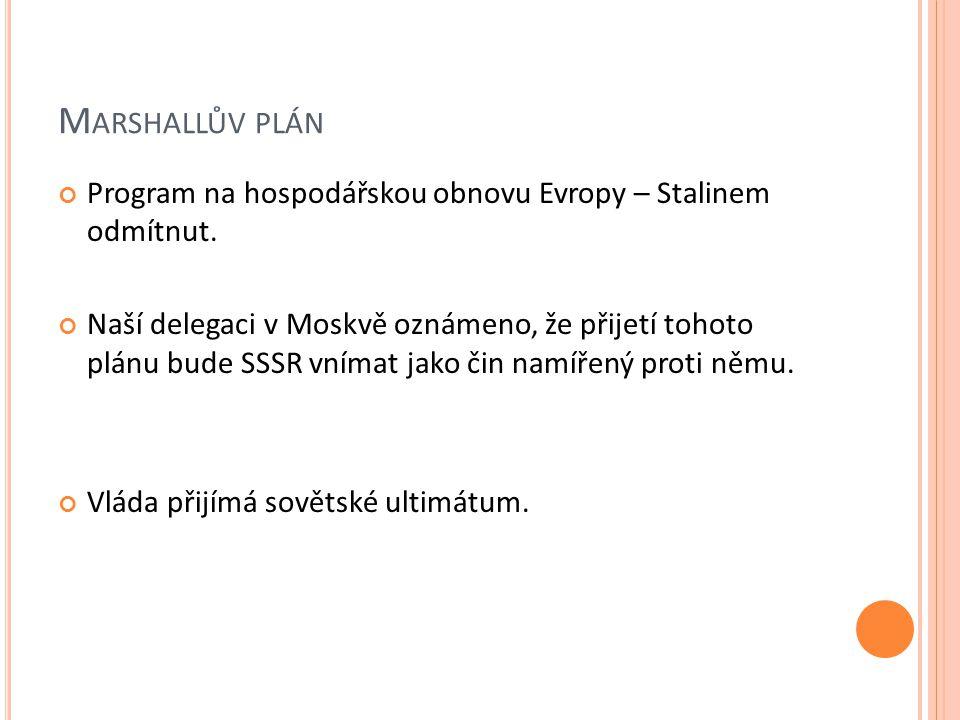 M ARSHALLŮV PLÁN Program na hospodářskou obnovu Evropy – Stalinem odmítnut.