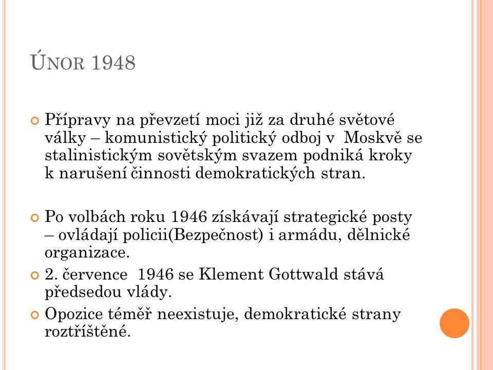 Ú NOR 1948 13.února 1948 vládní usnesení E. Beneše o Bezpečnosti = vládní krize.