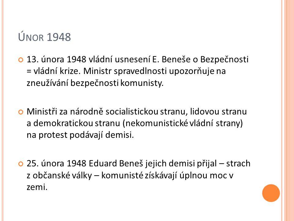 Ú NOR 1948 13. února 1948 vládní usnesení E. Beneše o Bezpečnosti = vládní krize.