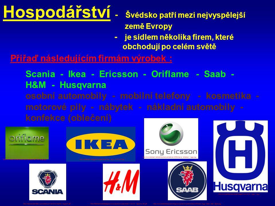 Hospodářství - Švédsko patří mezi nejvyspělejší země Evropy - je sídlem několika firem, které obchodují po celém světě Přiřaď následujícím firmám výro