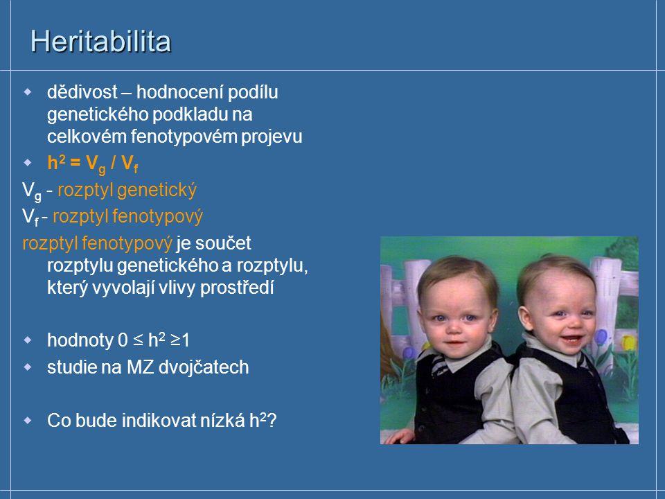 Heritabilita  dědivost – hodnocení podílu genetického podkladu na celkovém fenotypovém projevu  h 2 = V g / V f V g - rozptyl genetický V f - rozpty