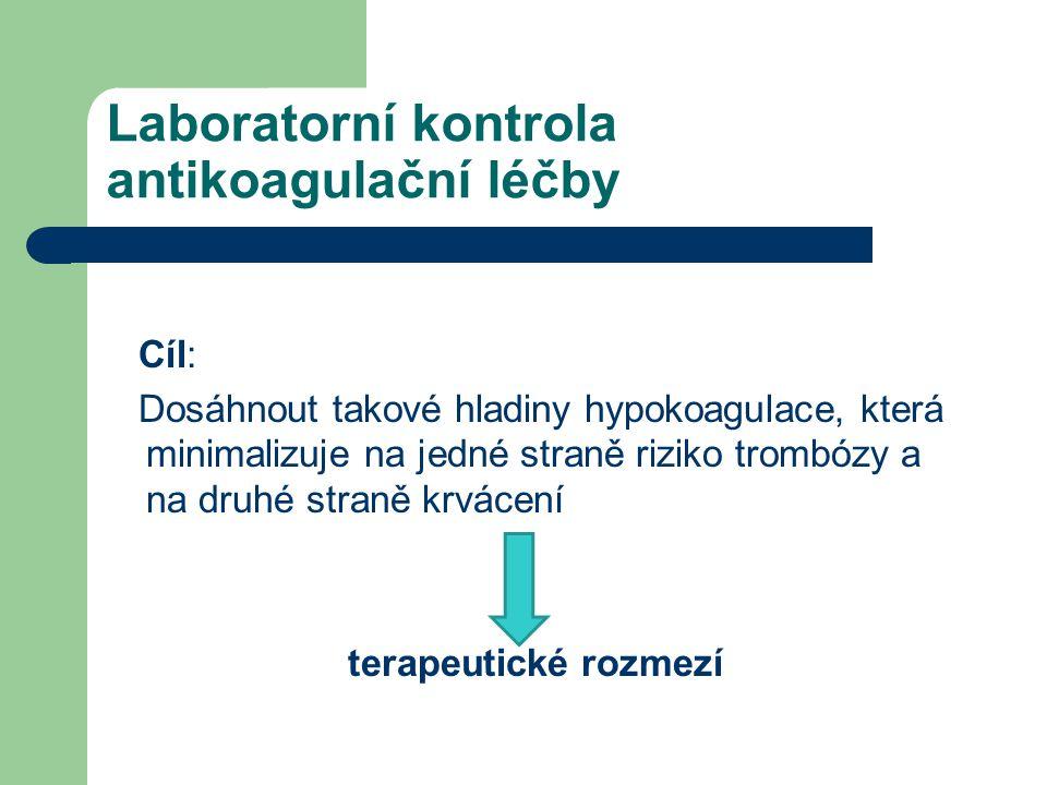 Laboratorní kontrola antikoagulační léčby Cíl: Dosáhnout takové hladiny hypokoagulace, která minimalizuje na jedné straně riziko trombózy a na druhé s