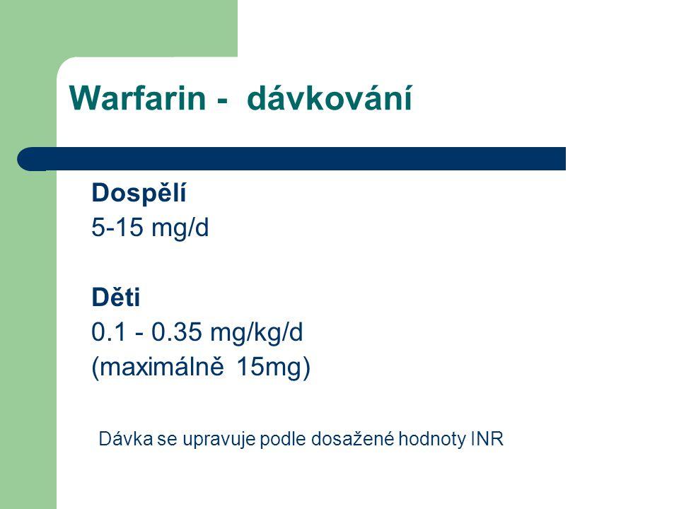 Warfarin - laboratorní kontrola Protrombinový test (PT), vyjádřený hodnotou INR Terapeutické rozmezí: 2,0 – 3,0 2,5 – 3,5 (pacienti s vysokým rizikem trombózy)