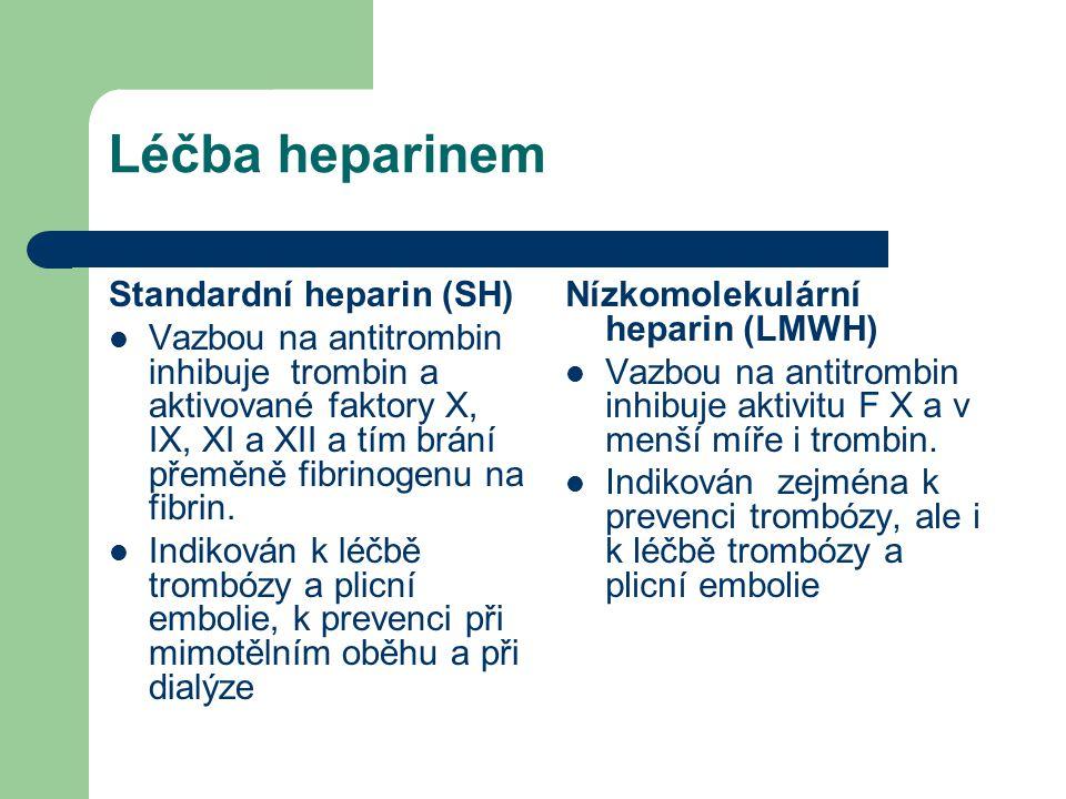 Léčba heparinem Standardní heparin (SH) Vazbou na antitrombin inhibuje trombin a aktivované faktory X, IX, XI a XII a tím brání přeměně fibrinogenu na
