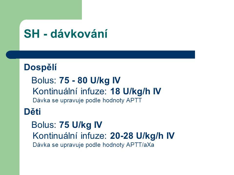 SH - dávkování Dospělí Bolus: 75 - 80 U/kg IV Kontinuální infuze: 18 U/kg/h IV Dávka se upravuje podle hodnoty APTT Děti Bolus: 75 U/kg IV Kontinuální