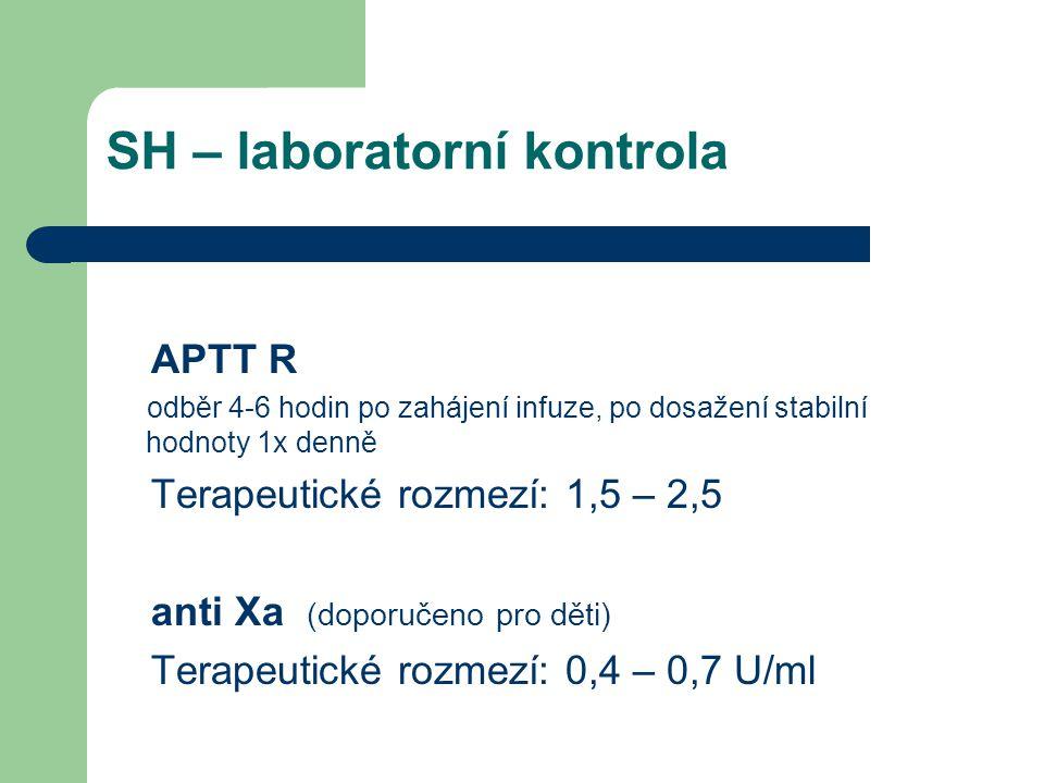LMWH - dávkování Dospělí Prevence: 2000 - 4000 aXa IU (20 - 40mg) /24h Laboratorní kontrola nutná jen u pacientů s vyšším rizikem trombózy Léčba : 100 aXa IU (1 mg) /kg/12h nebo 150 aXa IU(1.5 mg) /kg/24h Dávku nutno upravit podle hodnoty anti Xa testu
