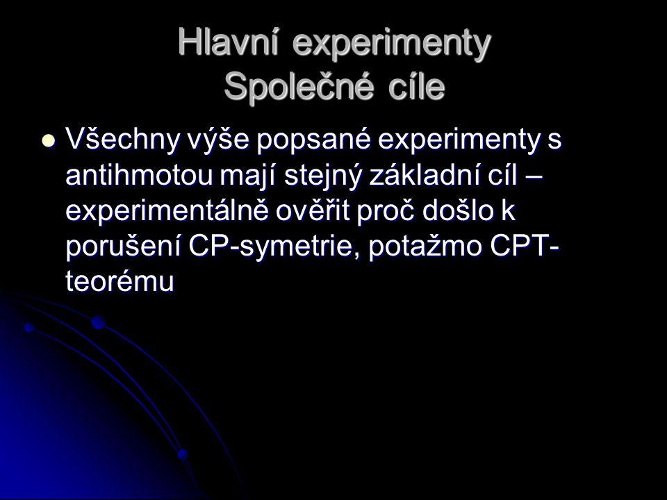 Hlavní experimenty Společné cíle Všechny výše popsané experimenty s antihmotou mají stejný základní cíl – experimentálně ověřit proč došlo k porušení