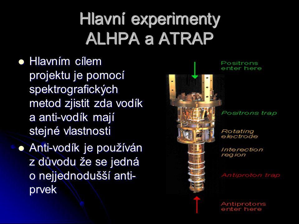 Hlavní experimenty ALHPA a ATRAP Hlavním cílem projektu je pomocí spektrografických metod zjistit zda vodík a anti-vodík mají stejné vlastnosti Hlavní