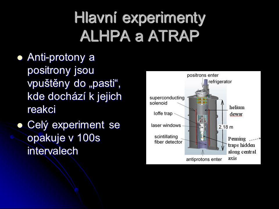 """Hlavní experimenty ALHPA a ATRAP Anti-protony a positrony jsou vpuštěny do """"pasti"""", kde dochází k jejich reakci Anti-protony a positrony jsou vpuštěny"""