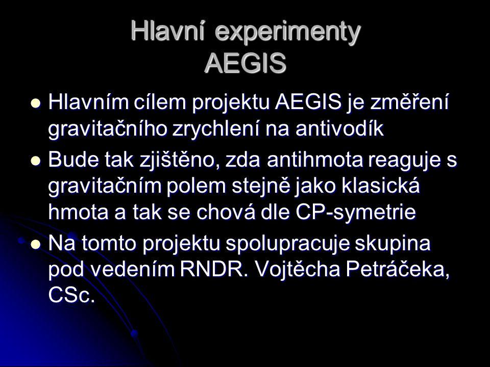 Hlavní experimenty AEGIS Hlavním cílem projektu AEGIS je změření gravitačního zrychlení na antivodík Hlavním cílem projektu AEGIS je změření gravitačn