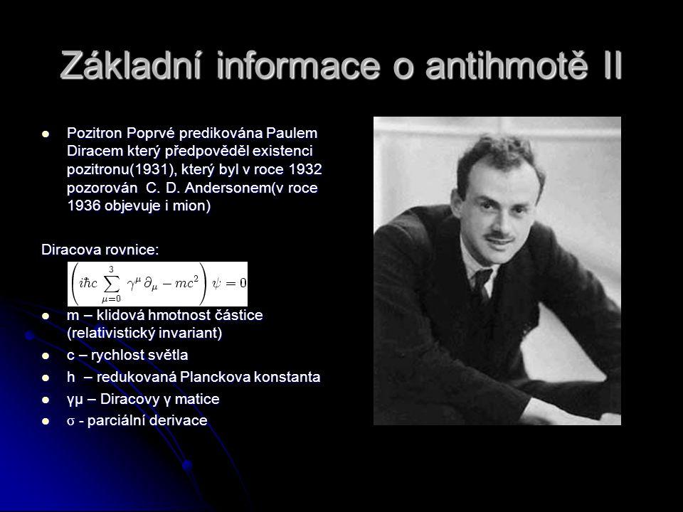 Základní informace o antihmotě II Pozitron Poprvé predikována Paulem Diracem který předpověděl existenci pozitronu(1931), který byl v roce 1932 pozoro