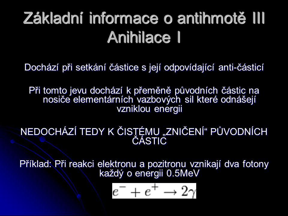 Základní informace o antihmotě III Anihilace I Dochází při setkání částice s její odpovídající anti-částicí Při tomto jevu dochází k přeměně původních