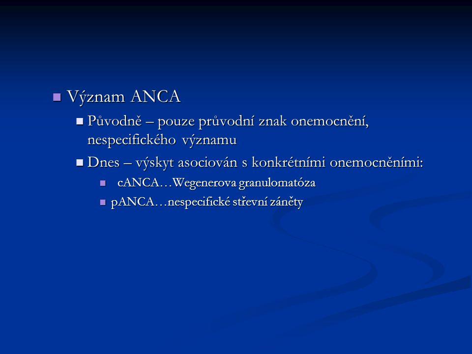 Význam ANCA Význam ANCA Původně – pouze průvodní znak onemocnění, nespecifického významu Původně – pouze průvodní znak onemocnění, nespecifického význ