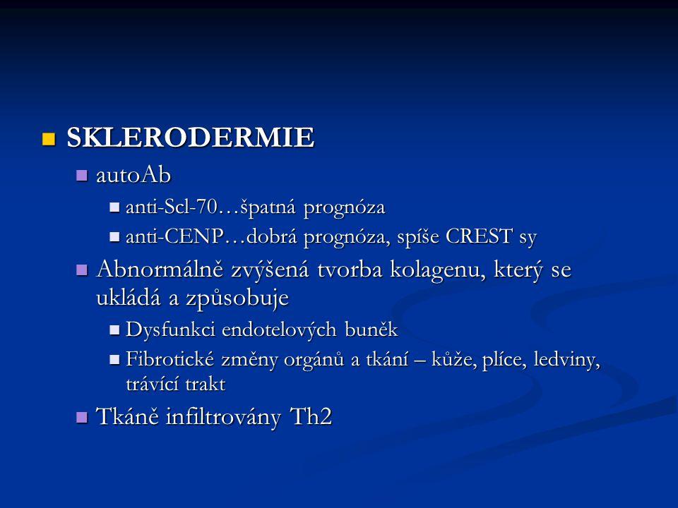 SKLERODERMIE SKLERODERMIE autoAb autoAb anti-Scl-70…špatná prognóza anti-Scl-70…špatná prognóza anti-CENP…dobrá prognóza, spíše CREST sy anti-CENP…dob