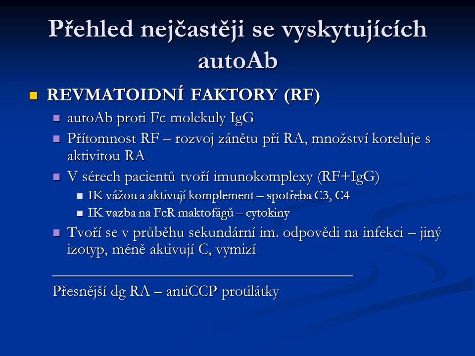 Přehled nejčastěji se vyskytujících autoAb REVMATOIDNÍ FAKTORY (RF) REVMATOIDNÍ FAKTORY (RF) autoAb proti Fc molekuly IgG autoAb proti Fc molekuly IgG