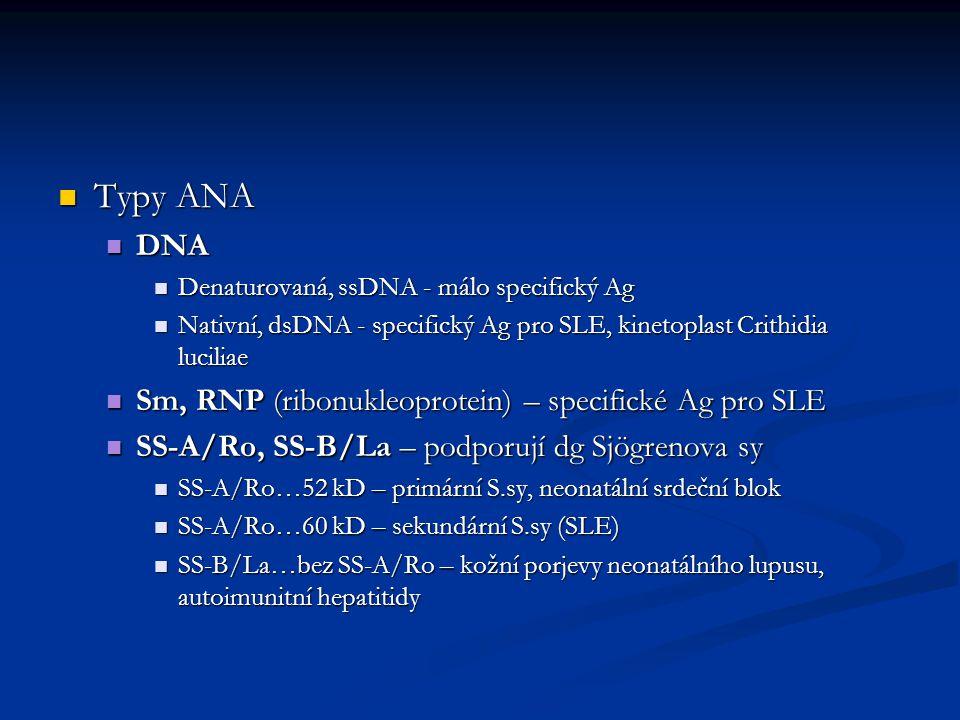 Typy ANA Typy ANA DNA DNA Denaturovaná, ssDNA - málo specifický Ag Denaturovaná, ssDNA - málo specifický Ag Nativní, dsDNA - specifický Ag pro SLE, ki
