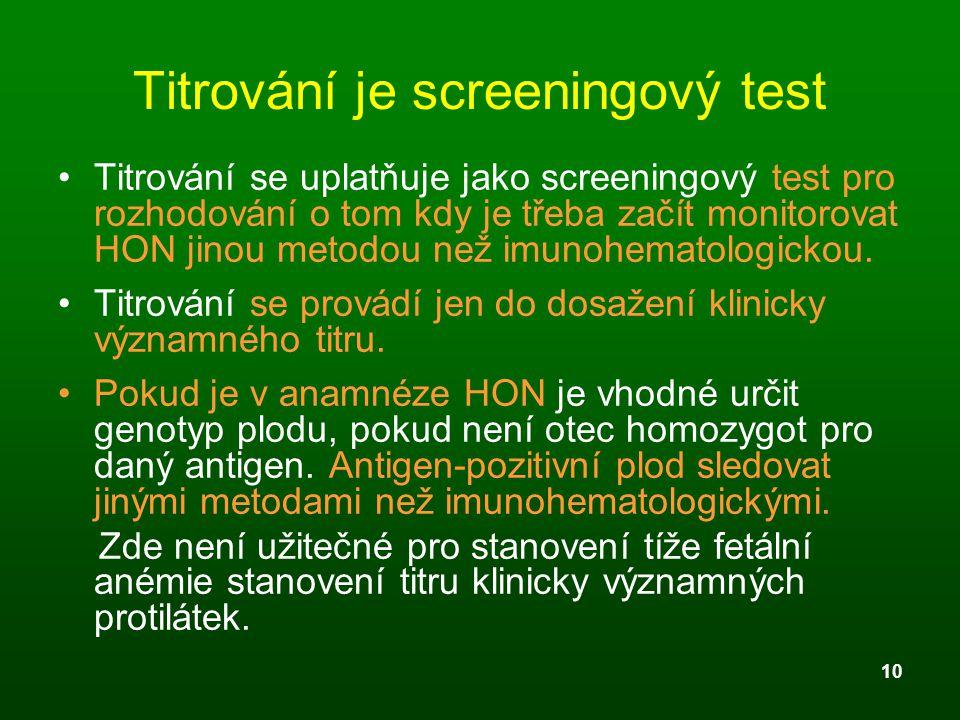 10 Titrování je screeningový test Titrování se uplatňuje jako screeningový test pro rozhodování o tom kdy je třeba začít monitorovat HON jinou metodou