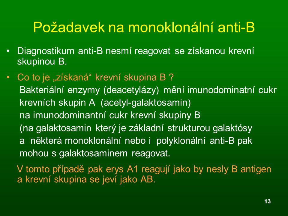 """13 Požadavek na monoklonální anti-B Diagnostikum anti-B nesmí reagovat se získanou krevní skupinou B. Co to je """"získaná"""" krevní skupina B ? Bakteriáln"""