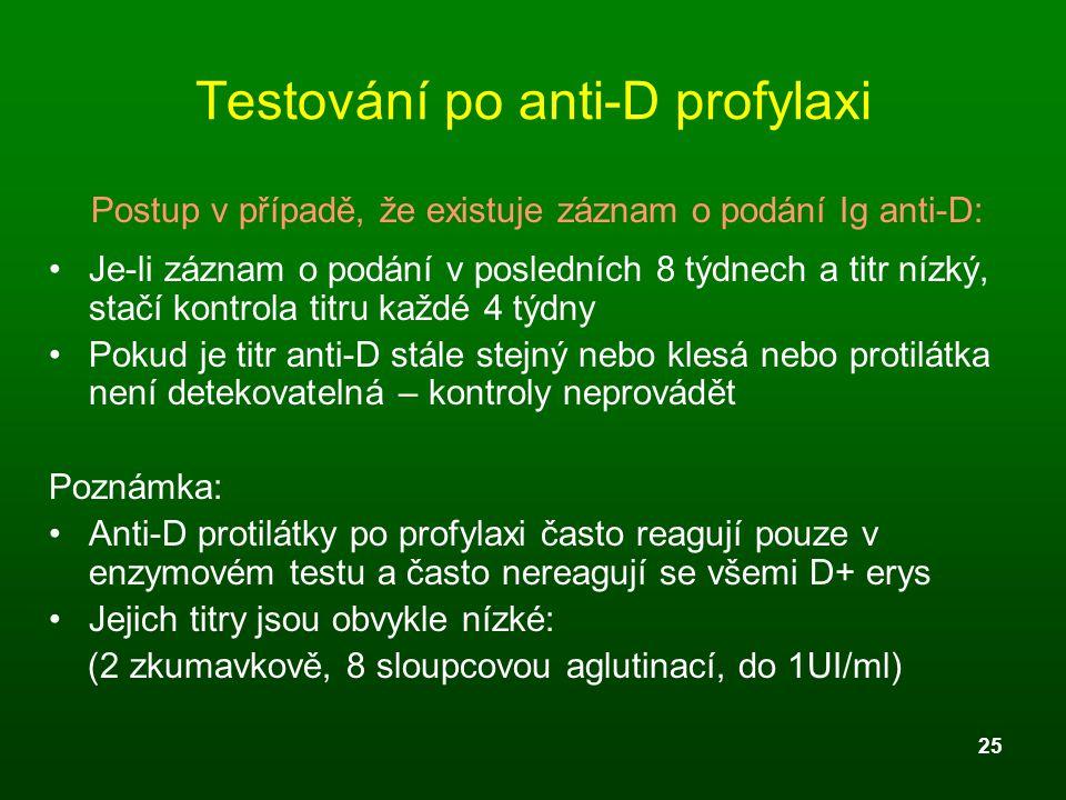 25 Testování po anti-D profylaxi Postup v případě, že existuje záznam o podání Ig anti-D: Je-li záznam o podání v posledních 8 týdnech a titr nízký, s
