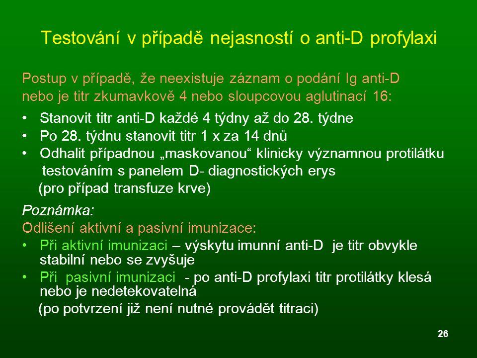 26 Testování v případě nejasností o anti-D profylaxi Postup v případě, že neexistuje záznam o podání Ig anti-D nebo je titr zkumavkově 4 nebo sloupcov