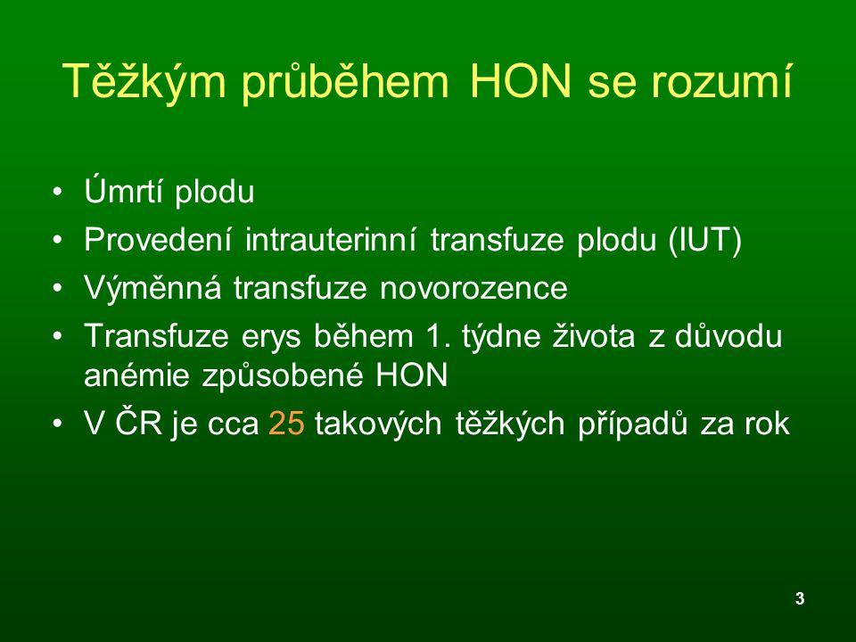 3 Těžkým průběhem HON se rozumí Úmrtí plodu Provedení intrauterinní transfuze plodu (IUT) Výměnná transfuze novorozence Transfuze erys během 1. týdne