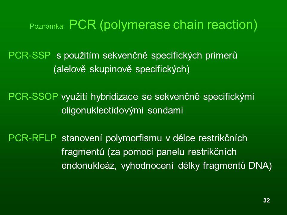 32 Poznámka: PCR (polymerase chain reaction) PCR-SSP s použitím sekvenčně specifických primerů (alelově skupinově specifických) PCR-SSOP využití hybri