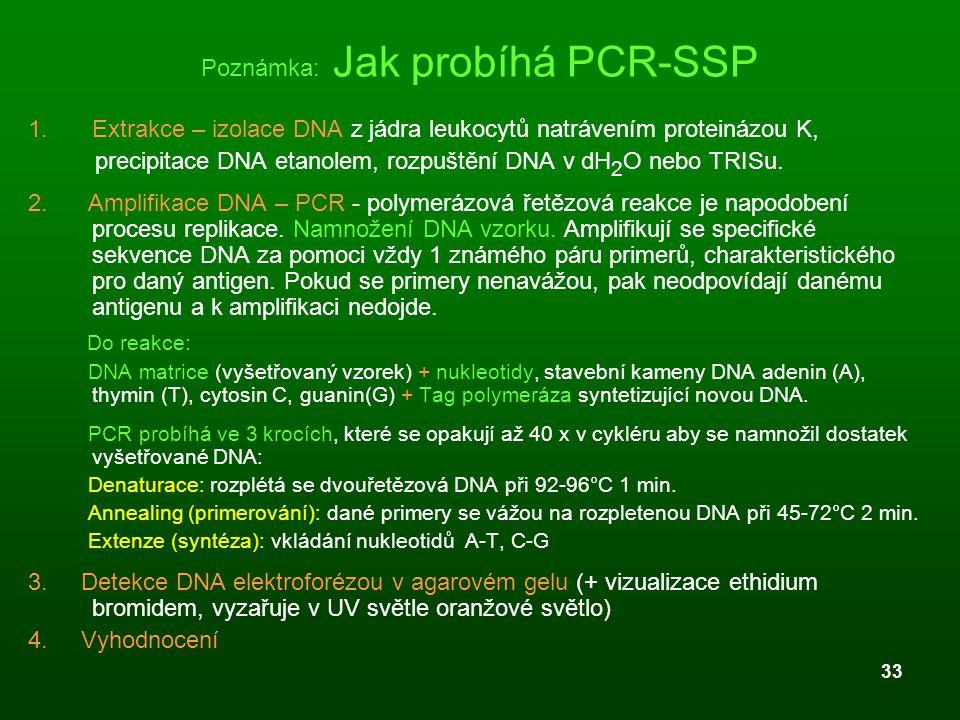 33 Poznámka: Jak probíhá PCR-SSP 1.Extrakce – izolace DNA z jádra leukocytů natrávením proteinázou K, precipitace DNA etanolem, rozpuštění DNA v dH 2