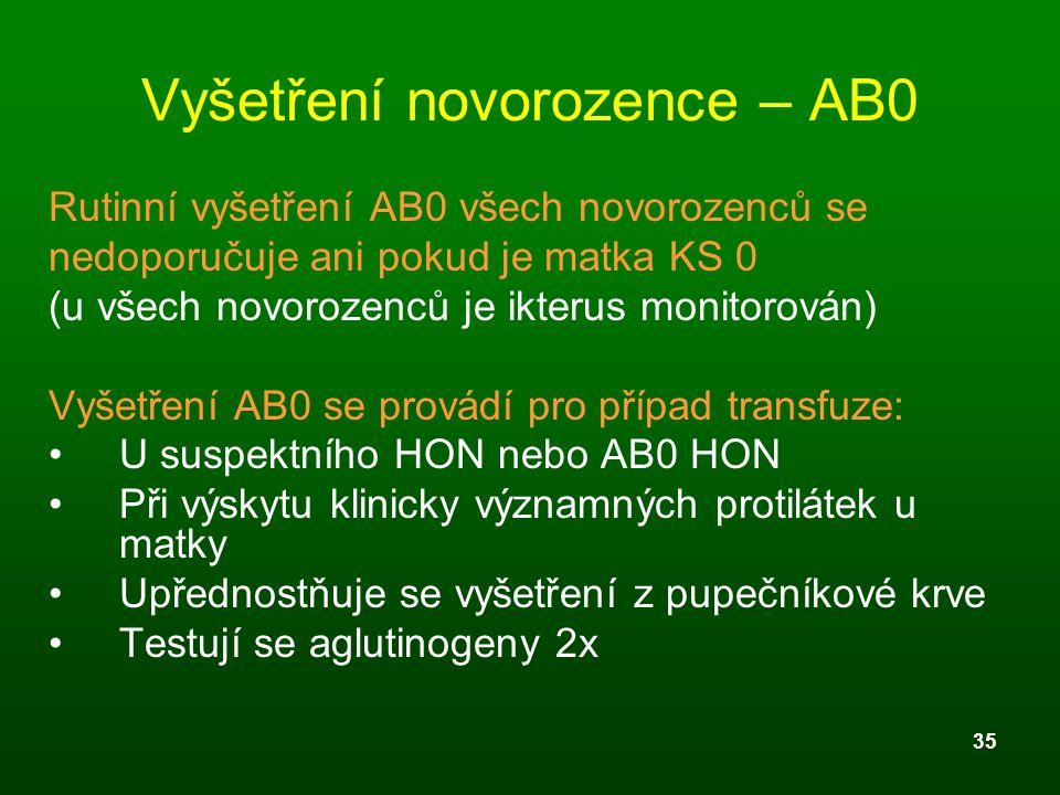 35 Vyšetření novorozence – AB0 Rutinní vyšetření AB0 všech novorozenců se nedoporučuje ani pokud je matka KS 0 (u všech novorozenců je ikterus monitor
