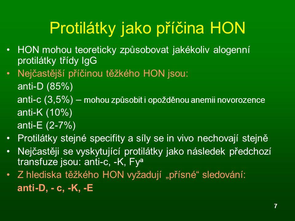 7 Protilátky jako příčina HON HON mohou teoreticky způsobovat jakékoliv alogenní protilátky třídy IgG Nejčastější příčinou těžkého HON jsou: anti-D (8