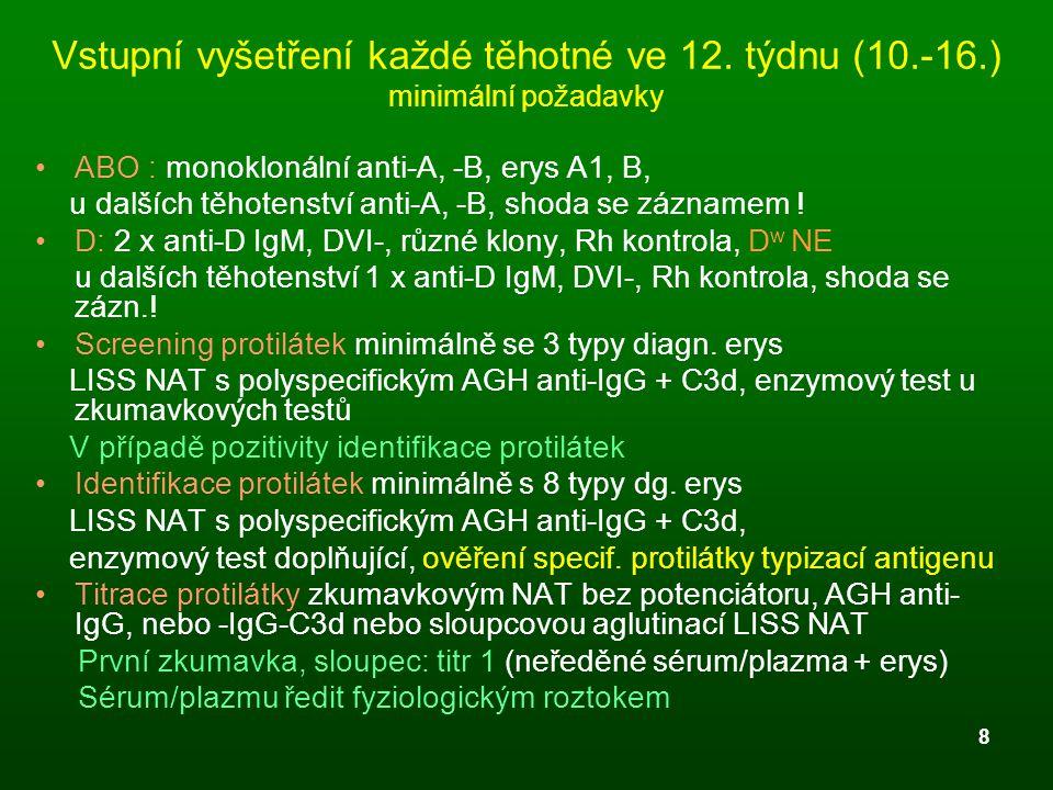 8 Vstupní vyšetření každé těhotné ve 12. týdnu (10.-16.) minimální požadavky ABO : monoklonální anti-A, -B, erys A1, B, u dalších těhotenství anti-A,