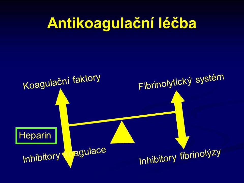 Antikoagulační léčba Inhibitory koagulace Inhibitory fibrinolýzy Heparin Koagulační faktory Fibrinolytický systém