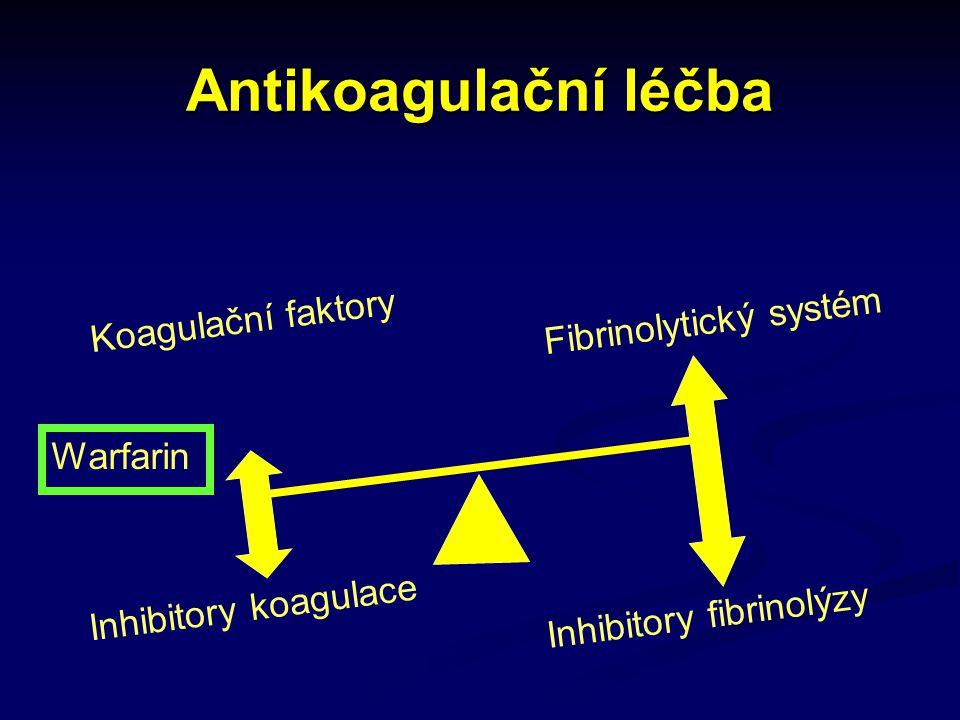 Antikoagulační léčba Inhibitory koagulace Inhibitory fibrinolýzy Warfarin Koagulační faktory Fibrinolytický systém