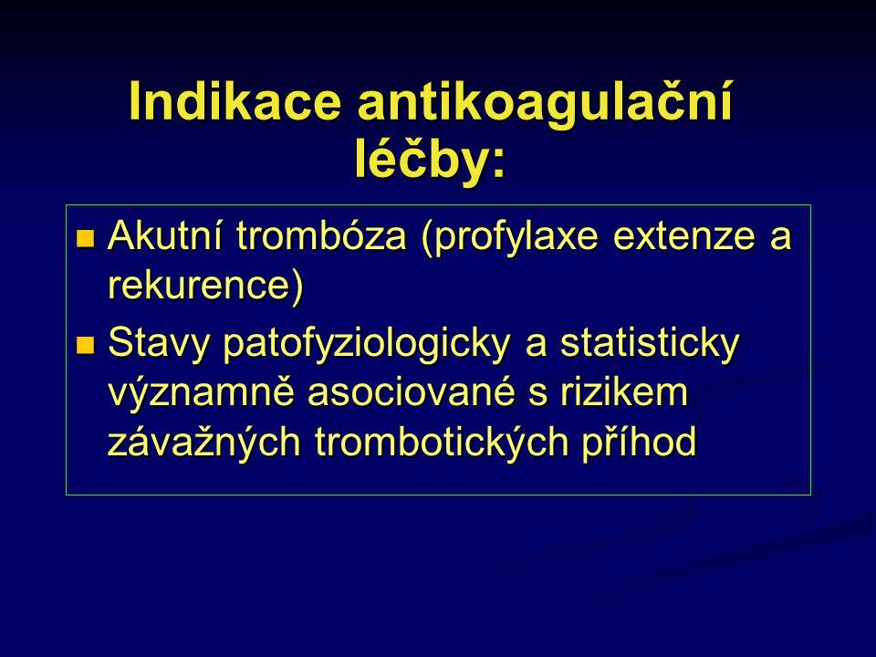 Indikace antikoagulační léčby: Akutní trombóza (profylaxe extenze a rekurence) Akutní trombóza (profylaxe extenze a rekurence) Stavy patofyziologicky