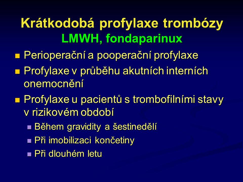 Krátkodobá profylaxe trombózy LMWH, fondaparinux Perioperační a pooperační profylaxe Perioperační a pooperační profylaxe Profylaxe v průběhu akutních