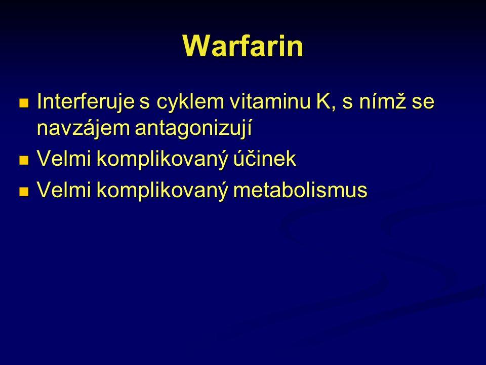 Warfarin Interferuje s cyklem vitaminu K, s nímž se navzájem antagonizují Interferuje s cyklem vitaminu K, s nímž se navzájem antagonizují Velmi kompl