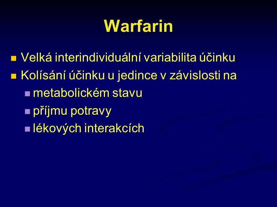 Warfarin Velká interindividuální variabilita účinku Velká interindividuální variabilita účinku Kolísání účinku u jedince v závislosti na Kolísání účin