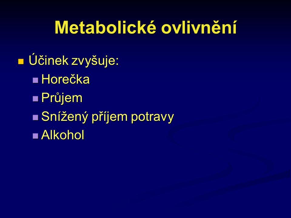 Metabolické ovlivnění Účinek zvyšuje: Účinek zvyšuje: Horečka Horečka Průjem Průjem Snížený příjem potravy Snížený příjem potravy Alkohol Alkohol