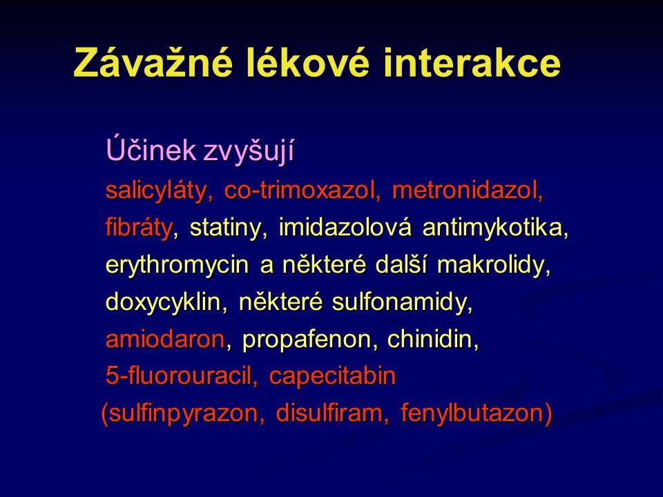 Závažné lékové interakce Závažné lékové interakce Účinek zvyšují salicyláty, co-trimoxazol, metronidazol, fibráty, statiny, imidazolová antimykotika,