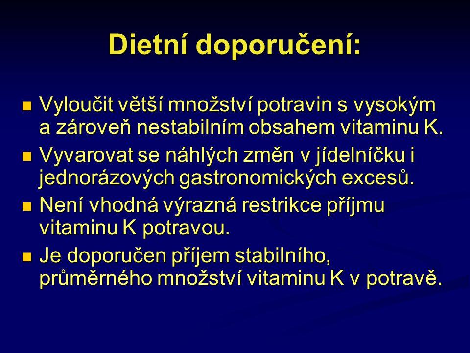 Dietní doporučení: Vyloučit větší množství potravin s vysokým a zároveň nestabilním obsahem vitaminu K. Vyloučit větší množství potravin s vysokým a z