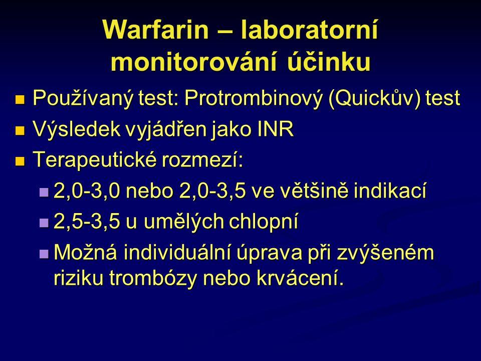 Warfarin – laboratorní monitorování účinku Používaný test: Protrombinový (Quickův) test Používaný test: Protrombinový (Quickův) test Výsledek vyjádřen