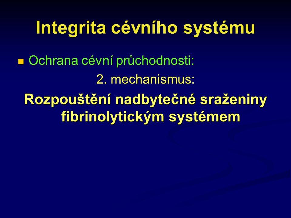 Integrita cévního systému Ochrana cévní průchodnosti: Ochrana cévní průchodnosti: 2. mechanismus: Rozpouštění nadbytečné sraženiny fibrinolytickým sys